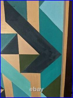 Striking 36 Large Vintage 1982 mcm Abstract Op Art Geometric Painting-J Kilguss