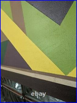 Striking Large Vintage 1981 mcm Abstract Op Art Geometric Painting- J Kilguss