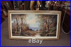 Stunning Impressionist Signed Oil Canvas Woodland Landscape Realism Vtg Painting