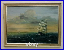 Stunning Vintage1970 Oil Painting Ships Sailing by Artist V. Seago