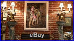 Stunning Vintage Large Signed 41 X 22 1/2 Mexican Scene Painting
