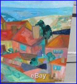 Stunning Vintage MID Century Modernist Cityscape Landscape Oil Painting Signed