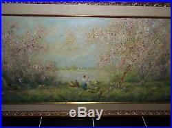 Stunning Vintage Signed F Davis Textured Oil On Canvas 54 Circa MID Century