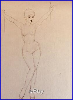 TED WITHERS ORIGINAL Vintage PIN-UP Nude DRAWING Pinup HAT Stockings Burlesque