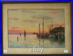T. BAILEY Painting Harbor Scene Sunset Seascape Sailboats Boats Ships Paskell