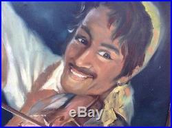 Tissot Signed Vintage Mid Century c1950s Painting GYPSY Fiddler Man