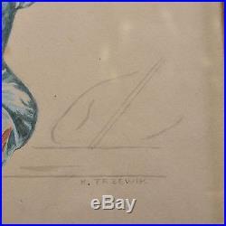 Tolle Vintage Zeichnung, sign. K. Trzewik, PinUp Girl, wohl 40er/50er Jahre