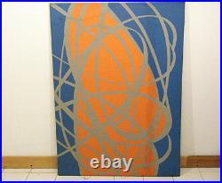 Tom Tru Vintage 1970s MCM Modern Abstract Wall Silkscreen Print Silver Blue