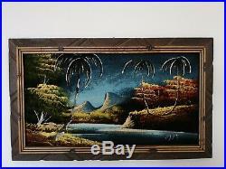 Two Black Velvet Paintings Tiki Bar Tropical Polynesian Hawaiian Framed Vintage