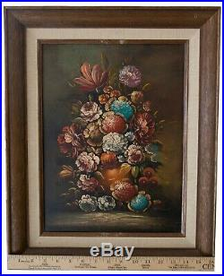 Two Vintage Original Floral Still Life Oil Paintings on canvas in wooden frame