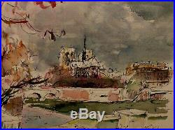 UNIQUE! VINTAGE ORIGINAL Signed Gregoire WithC Notre Dame Paris, France, Cityscape