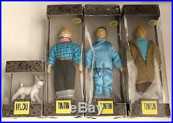VERY RARE COMPLETE SETof 4 TINTIN VINTAGE DOLLS HAND PAINTED HERGÉ COLLECTION