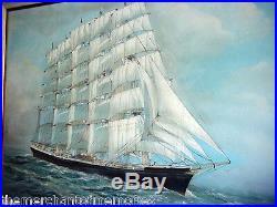 VINTAGE 1890's Museum Framed Oil Painting Ship at Sea-FREDERICK FALKNER