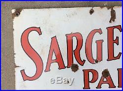 VINTAGE 1930's SARGENT PAINT SIGN TWO SIDED PORCELAIN METAL SIGN