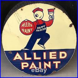 VINTAGE 1940's ALLIED PAINT HAPPY PAINTER PAINT PORCELAIN DOUBLE SIDED 30 SIGN
