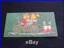 Vintage 1950's Box Of 19 Signed Eve Rockwell Christmas Cards Angel Painting Can