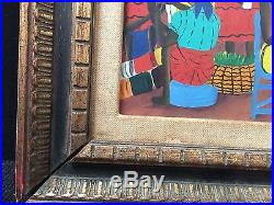 Vintage 1967 Wilmino Domond Oil On Board Hand Signed Haitian Listed Artist