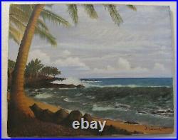 VINTAGE 1969 M N DURAND Original SIGNED OIL PAINTING OCEAN BEACH HAWAII CALIF