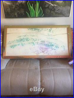 VINTAGE 4'x2' ABSTRACT EXPRESSIONIST PAINTING MID CENTURY MODERN Signed 1970