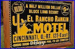 VINTAGE 50s EL RANCHO MOTEL METAL TRAVEL SIGN REFLECTIVE PAINT UNFINADABLE