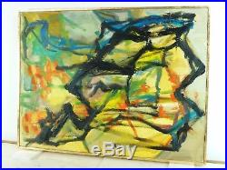 VINTAGE ABSTRACT EXPRESSIONIST ACTION OIL PAINTING Mid Century Modern Signed