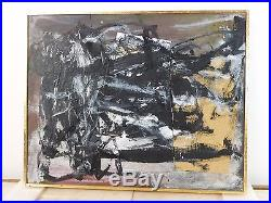 VINTAGE ABSTRACT EXPRESSIONIST ACTION PAINTING MID CENTURY New York Signed
