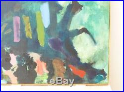 VINTAGE ABSTRACT EXPRESSIONIST MODERN OIL PAINTING MID CENTURY SIGNED Nelson