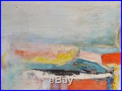 VINTAGE ABSTRACT EXPRESSIONIST OIL PAINTING Mid Century Modern Signed 1966