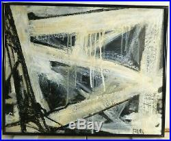 VINTAGE ABSTRACT EXPRESSIONIST OIL PAINTING NY Mid Century Modern Signed 1968 #2
