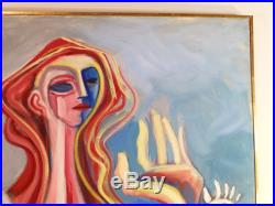 VINTAGE ABSTRACT FIGURAL MODERNIST OIL PAINTING Mid Century Signed Listed