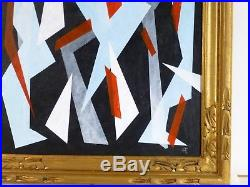 VINTAGE ABSTRACT GEOMETRIC MODERNIST OIL PAINTING Mid Century Modern NY Signed