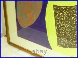 VINTAGE ABSTRACT GEOMETRIC MODERNIST PAINTING Mid Century Modern Signed 1965