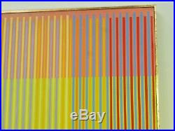 VINTAGE ABSTRACT GEOMETRIC OP ART PAINTING MID CENTURY MODERN Signed 1979