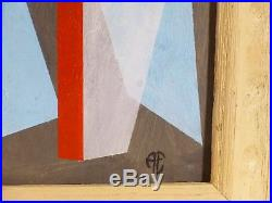 VINTAGE ABSTRACT MODERNIST GEOMETRIC OIL PAINTING Mid Century Modern NY Signed