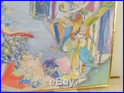 VINTAGE ABSTRACT MODERNIST INTERIOR OIL PAINTING MID CENTURY MODERN Signed