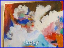 VINTAGE ABSTRACT MODERNIST OIL PAINTING MID CENTURY MODERN Signed 1969
