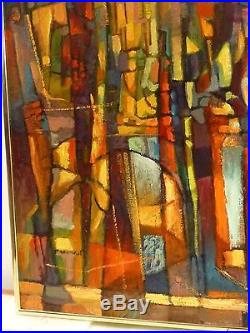VINTAGE ABSTRACT MODERNIST OIL PAINTING Mid Century Cubism Signed LISTED 1976