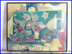 VINTAGE ABSTRACT MODERNIST OIL PAINTING Mid Century Signed Listed NY Artist