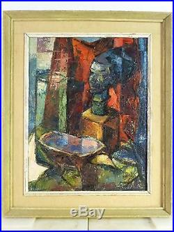 VINTAGE ABSTRACT MODERNIST OIL PAINTING Sculptural MID CENTURY MODERN Signed