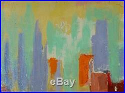 VINTAGE ABSTRACT OIL PAINTING MODERNIST CITYSCAPE Mid Century Modern Signed
