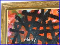 VINTAGE ABSTRACT SCULPTURAL OIL PAINTING MID CENTURY MODERN Signed 1969