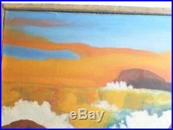 VINTAGE AMERICAN MODERNIST OIL PAINTING Seascape Mid Century Modern Signed 1955