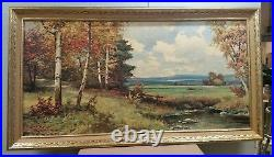 VINTAGE ART Robert Wood pine and birch Framed Reproduction Print SIGNED