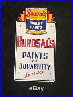 Vintage Burdsal's Paints Of Durabiity 21 X 11.25 Porcelain Paint Sign Painting