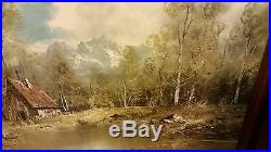 VINTAGE CANVAS OIL PAINTING SIGNED by LORENZ FRAMED HOUSE IN WOODS / WATER