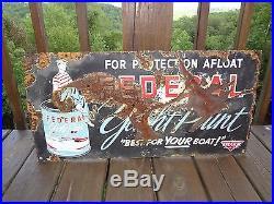 Vintage C. 1940 Federal Yacht Marine Boat Paint 28 Porcelain Metal Gas Oil Sign