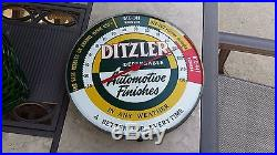 Vintage Ditzler Paint Automotive Finish Advertising Thermometer Gas Oil Sign Tin