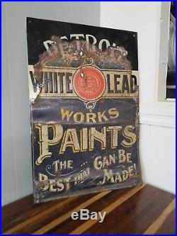 VINTAGE Detroit lead PAINTS SINGLE SIDED SIGN 19X28 INCHES