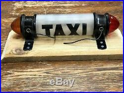 VINTAGE Early LIGHTED Painted Frosted GLASS TAXI CAB SIGN RaT RoD HoT RoD OLD