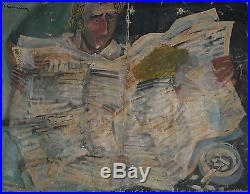 Vintage French Abstract Portrait Oil Painting Signed Le Corbusier